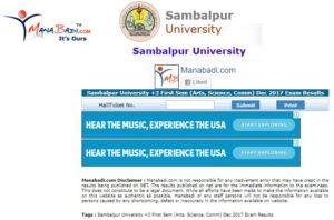 Sambalpur University +3 First Sem Results Dec 2017