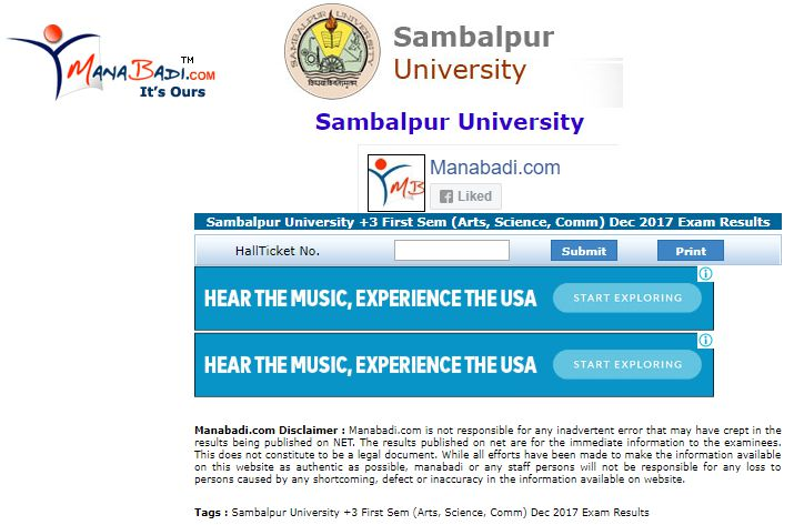 Sambalpur University +3 First Sem Results Dec 2017