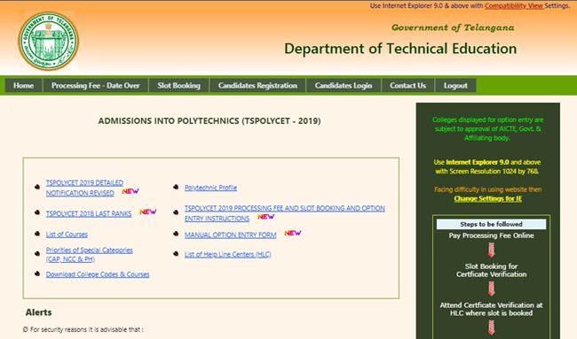 TS polycet seat allotment 2019