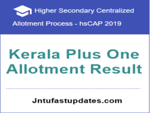 kerala plus one allotment result 2019