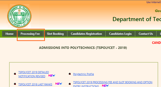 ts polycet processing fee
