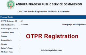 APPSC One Time Profile Registration