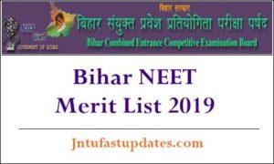 Bihar NEET Merit List 2019