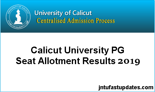 Calicut University PG Trial Allotment 2019