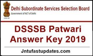 DSSSB Patwari Answer Key 2019