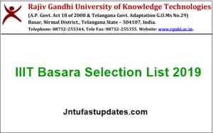 IIIT Basara Selection List 2019