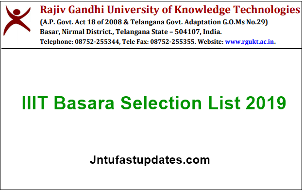 IIIT Basara Selection List 2019