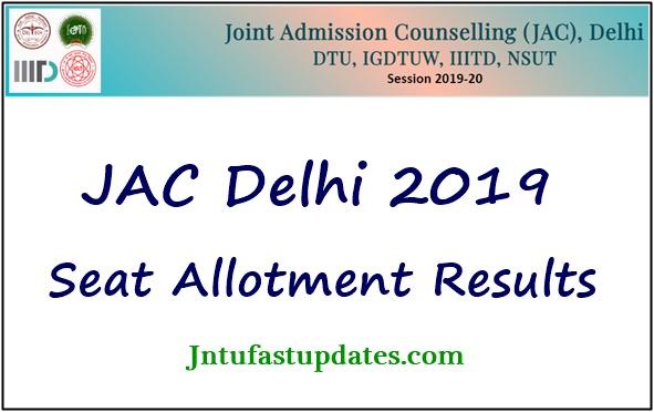 JAC Delhi Seat Allotment Result 2019