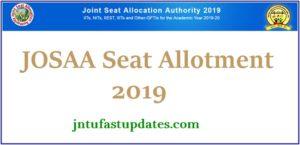 JoSAA 1st Round Seat Allotment Result 2019
