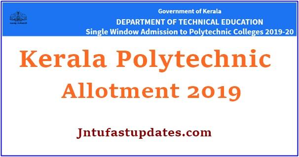 Kerala Polytechnic Allotment 2019