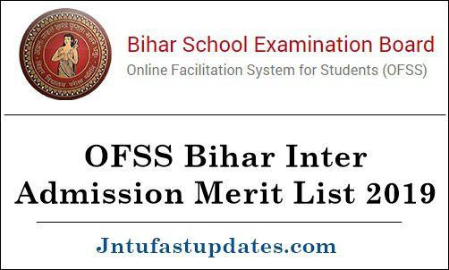 OFSS Bihar Inter Admission Merit List 2019