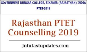 Rajasthan PTET 1st College Seat Allotment List 2019 – First Counselling Letter Results @ ptet2019.org