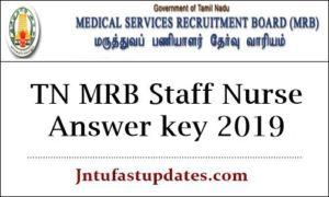 TN MRB Staff Nurse Answer key 2019