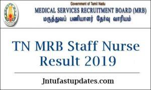 TN MRB Staff Nurse Result 2019
