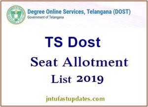 Telangana DOST Seat Allotment 2019