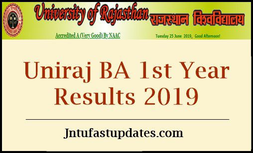 Uniraj BA 1st year Result 2019