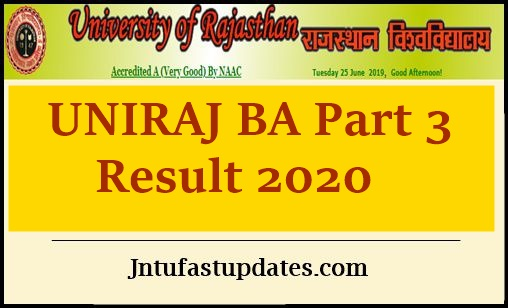 uniraj ba part 3 result 2020