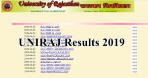 uniraj results 2019