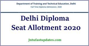 delhi diploma seat allotment result 2020