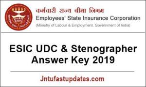 ESIC UDC Answer Key 2019