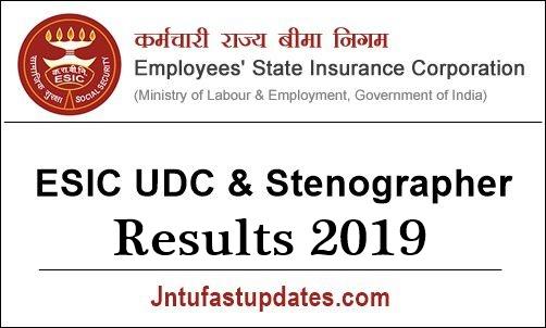 ESIC UDC Result 2019