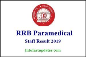 RRB Paramedical Staff Nurse Result 2019