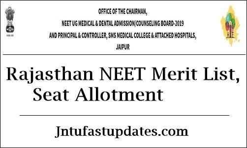 Rajasthan NEET Seat Allotment 2020