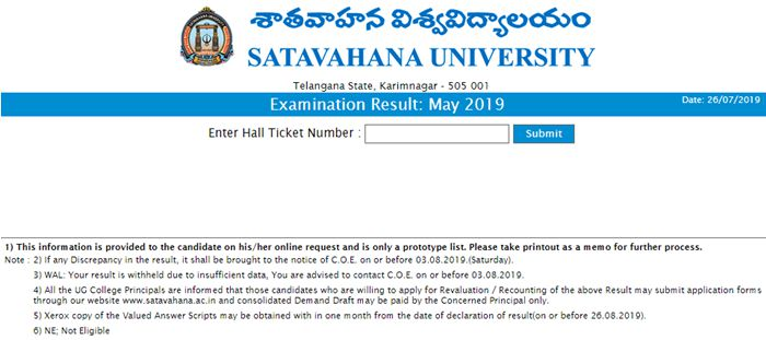 Satavahana University Degree Results 2019