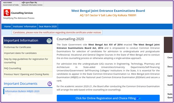 Wbjee counselling seat allotment Result 2020