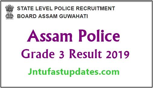 Assam Police Grade 3 Result 2019