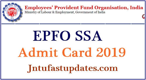 EPFO SSA Admit Card 2019