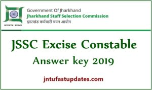 JSSC Excise Constable Answer Key 2019