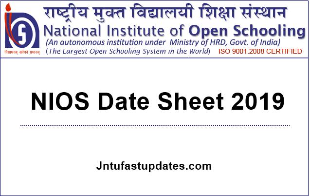 NIOS Date Sheet 2019