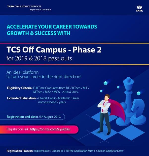 TCS Off Campus for batch 2018 & 2019