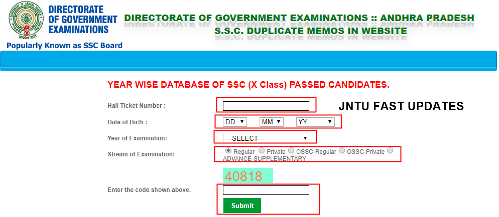 ap ssc duplicate memo download