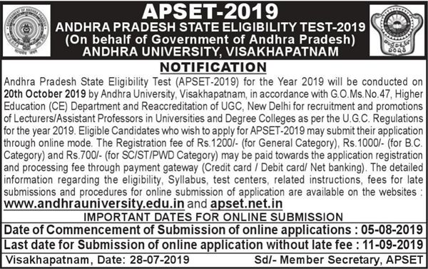 apset notification 2019