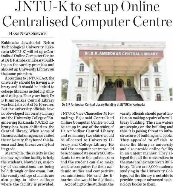 Dr B R Ambedkar Central Library Building at JNTUK in Kakinada