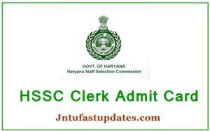 HSSC Clerk Admit Card 2019 Download