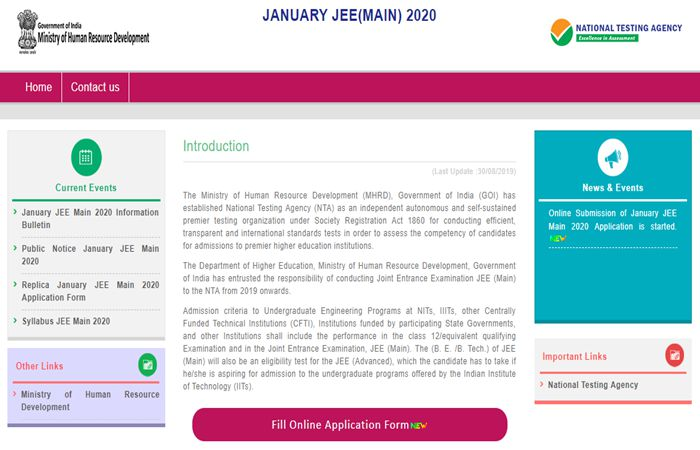 JEE Main Registration 2020