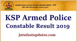 KSP Armed Police Constable Result 2019