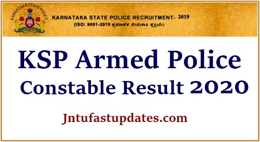 Ksp Armed police Constable result 2020