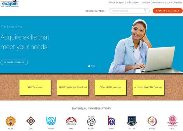 SWAYAM Online Course Registration