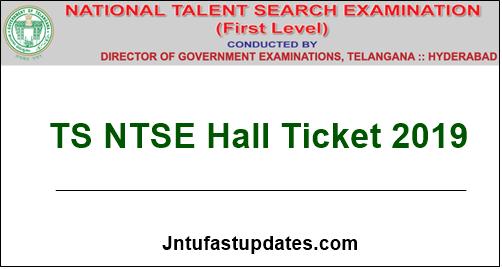 TS NTSE Hall Ticket 2019