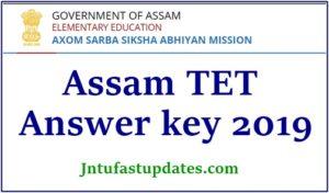 Assam TET Answer Key 2019