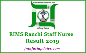 RIMS Ranchi Staff Nurse Result 2019