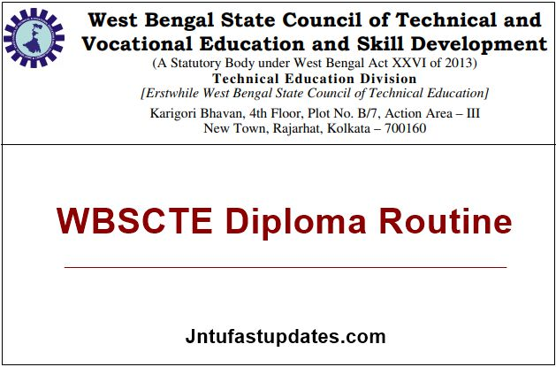 WBSCTE Diploma Routine 2020