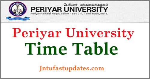 Periyar University Time Table 2019
