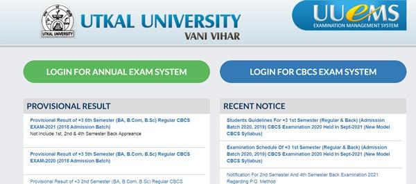 Utkal University Results 2021