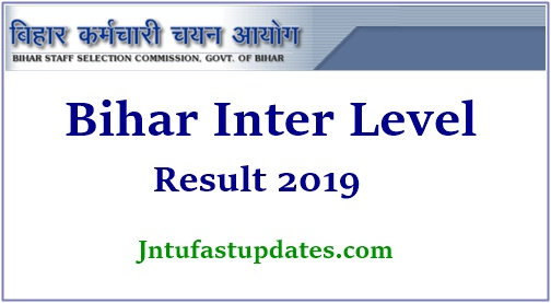 BSSC Bihar Inter Level Result 2019