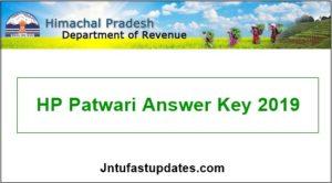 HP Patwari Answer Key 2019